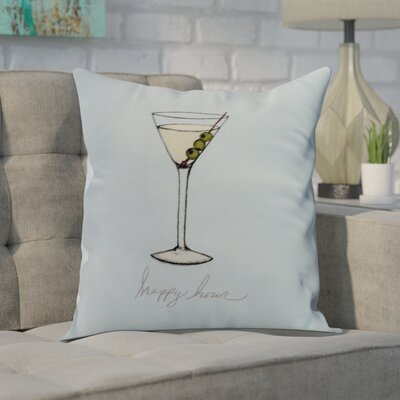 Carmack Martini Glass Throw Pillow Color: Pale Blue, Size: 16 x 16