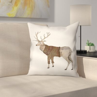 Stag Throw Pillow Size: 18 x 18
