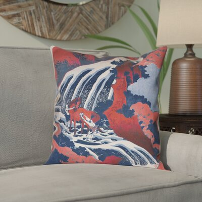 Channelle Horse and Waterfall Square Pillow Cover Size: 18 x 18, Color: Red/Blue