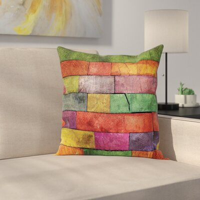 Abstract Art Rainbow Timber Square Pillow Cover Size: 24 x 24