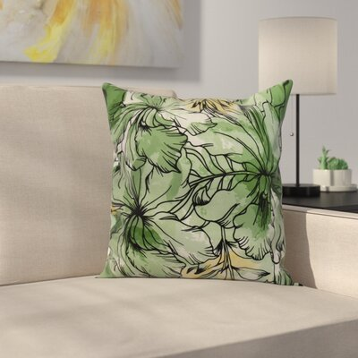 Memmott Floral Print Throw Pillow Color: Green, Size: 20
