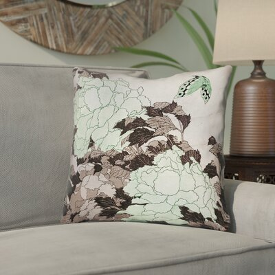 Clair Peonies with Butterfly Linen Throw Pillow Color: Green, Size: 14 x 14