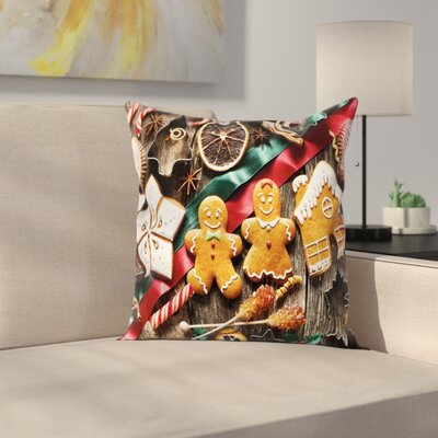 Gingerbread Man Biscuits Rustic Square Pillow Cover Size: 18 x 18