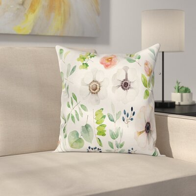 Anemone Floral Elements Square Cushion Pillow Cover Size: 18