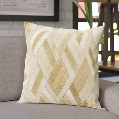 Cougar Cove Leather Throw Pillow Color: Beige