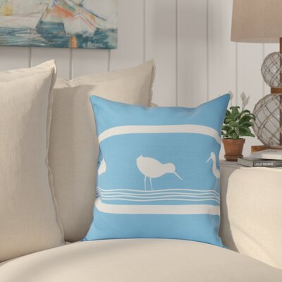 Hancock Birdwalk Animal Print Throw Pillow Size: 18 H x 18 W, Color: Blue