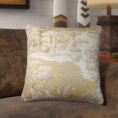 Elijah Toile Square Cotton Throw Pillow Cover Size: 18 x 18, Color: Safari