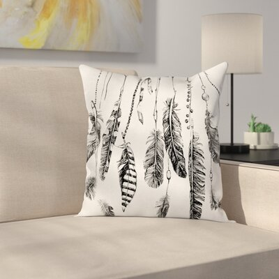 Case Hand Drawn Indian Feather Square Pillow Cover Size: 16 x 16
