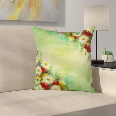 Floral Vintage Bouquet Bridal Square Pillow Cover Size: 18 x 18