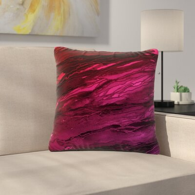Ebi Emporium Agate Magic Abstract Geological Painting Outdoor Throw Pillow Color: Red/Pink/Plum, Size: 18