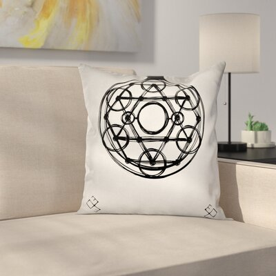 Sacred Geometry Sketch Square Pillow Cover Size: 16 x 16