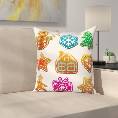 Gingerbread Man Tasty Cartoon Square Pillow Cover Size: 18 x 18