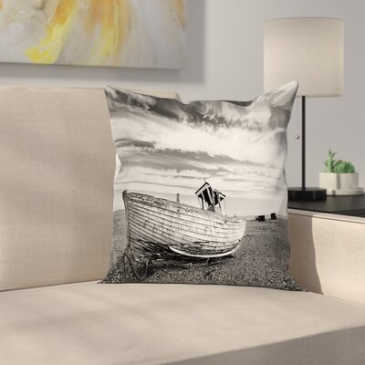 Wooden Boat on Beach Dusk Square Pillow Cover Size: 24 x 24