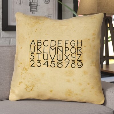 Daniyar Vintage Typography Square Euro Pillow with Zipper