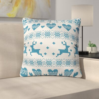 Knitting Deer with Hearts Throw Pillow Size: 20 H x 20 W x 6 D