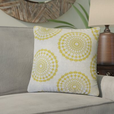 Windsor Geometric Cotton Throw Pillow Color: Yellow