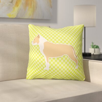 Staffordshire Bull Terrier Indoor/Outdoor Throw Pillow Size: 18 H x 18 W x 3 D, Color: Pink