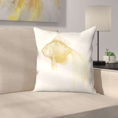Bubbles The Gold Fish Throw Pillow Size: 18 x 18