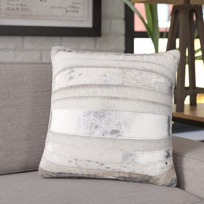 Sarthak Cowhide Throw Pillow Color: Gray/Silver