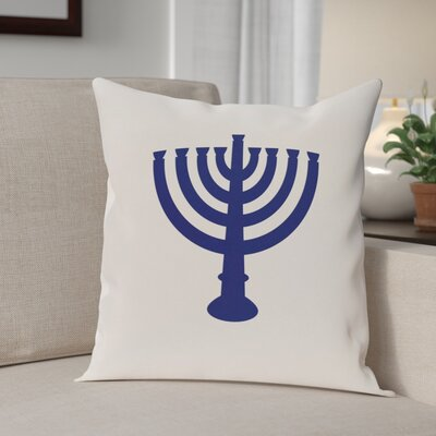 Holiday Geometric Print Menorah Major Throw Pillow Size: 16 H x 16 W, Color: White