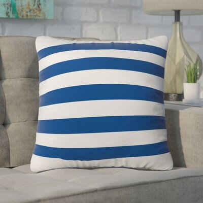 Flemings Rugby Stripe Outdoor Throw Pillow Size: 18 H x 18 W x 5 D, Color: Navy