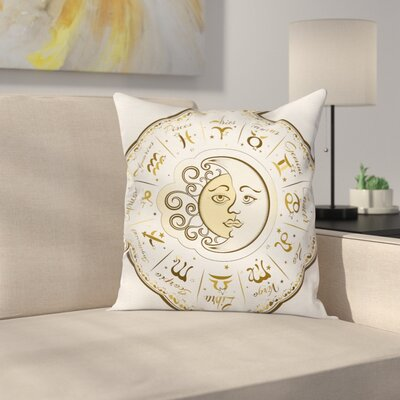 Fabric Zodiac Horoscope Chart Square Pillow Cover Size: 18 x 18