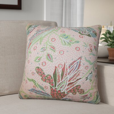 Peggy Floral Cotton Throw Pillow Color: Coral