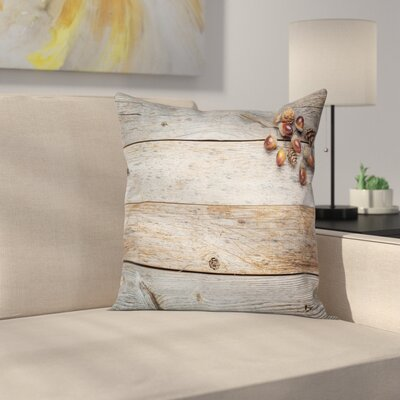 Wooden Acorns and Cons Timber Square Pillow Cover Size: 18 x 18