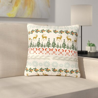 Famenxt Christmas Vibes Holiday Pattern Outdoor Throw Pillow Size: 16 H x 16 W x 5 D
