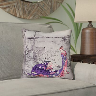 Enya Japanese Courtesan Outdoor Throw Pillow Color: Indigo, Size: 18 x 18