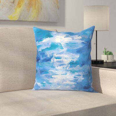 Jetty Printables Abstract Ocean Waves Throw Pillow Size: 14 x 14