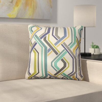 Rigney Geometric Cotton Throw Pillow Color: Baltic
