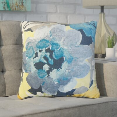 Zavijah Floral Cotton Throw Pillow Color: Indigo