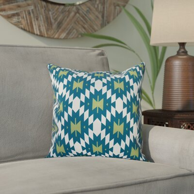 Willa Jodhpur Kilim 2 Geometric Print Throw Pillow Size: 26 H x 26 W, Color: Teal