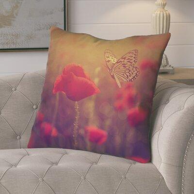 Mariani Country Butterfly and Rose Zipper Throw Pillow Color: Red/Yellow