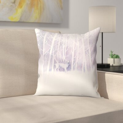 White Deer Frosty Forest Throw Pillow Size: 18 x 18