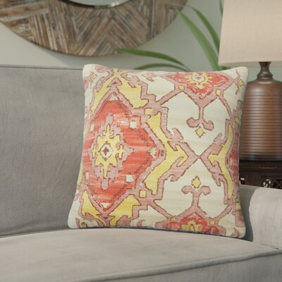 Ashly Ikat Cotton Throw Pillow Color: Currant
