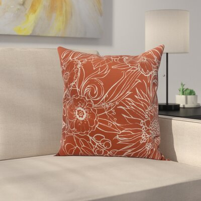 Derick Floral Print Throw Pillow Color: Red-Orange, Size: 16 x 16