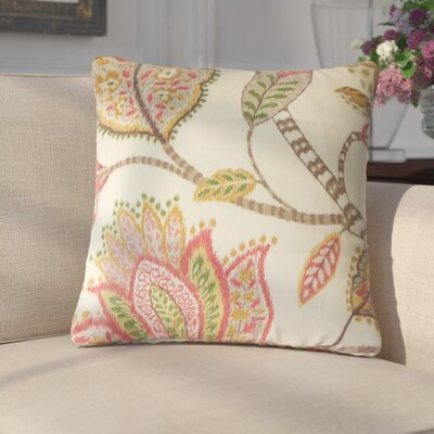 Gunnel Floral Linen Throw Pillow Color: Blush