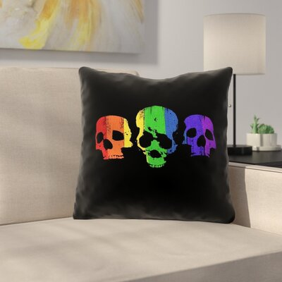 Rainbow Skulls Throw Pillow Size: 14 x 14
