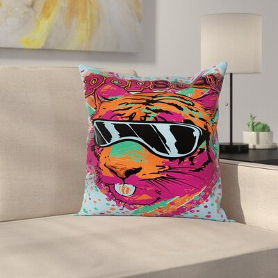 Popstar Lion Art Square Pillow Cover Size: 18 x 18