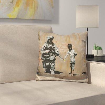 Soldier Boy Flower Gun Throw Pillow