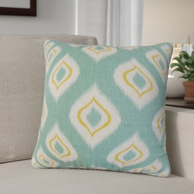 Arlandus Ikat Cotton Throw Pillow Color: Aqua