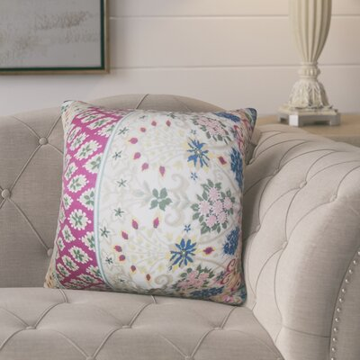 Polster Floral Cotton Throw Pillow Color: Pink/Blue
