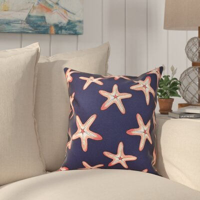 Cedarville Soft Starfish Geometric Print Outdoor Throw Pillow Size: 18 H x 18 W, Color: Navy Blue/Coral