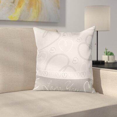 Cute Doodle Hearts Love Square Cushion Pillow Cover Size: 16 x 16