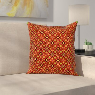 Modern Waterproof Floral Square Pillow Cover with Zipper Size: 16 x 16