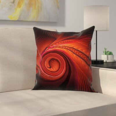 Surreal Waves Spiral Art Square Pillow Cover Size: 16 x 16