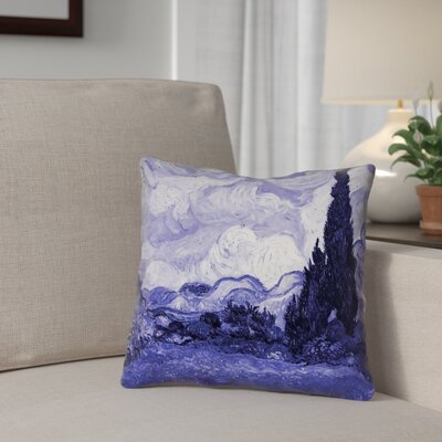 Meredosia Wheat Field with Cypresses Throw Pillow Color: Blue, Size: 18 H x 18 W