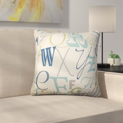 Rowles Typography Cotton Throw Pillow Color: Blue